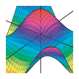 3D surface of Cos(x) Cos(y), Calculus textbook illustration art.