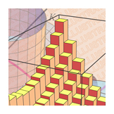 Opener art with riemann boxes, Calculus textbook illustration art.