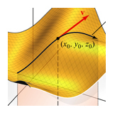 Vector tangent to a 3D surface path; Calculus textbook illustration art.